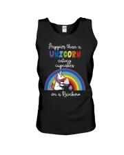 Happier Than A Unicorn Eating Cupcakes - Rainbow Unisex Tank thumbnail