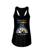 Happier Than A Unicorn Eating Cupcakes - Rainbow Ladies Flowy Tank thumbnail