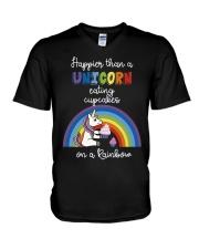 Happier Than A Unicorn Eating Cupcakes - Rainbow V-Neck T-Shirt thumbnail