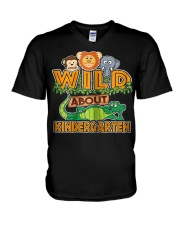 Wild About Kindergarten Back to School Classroom V-Neck T-Shirt thumbnail