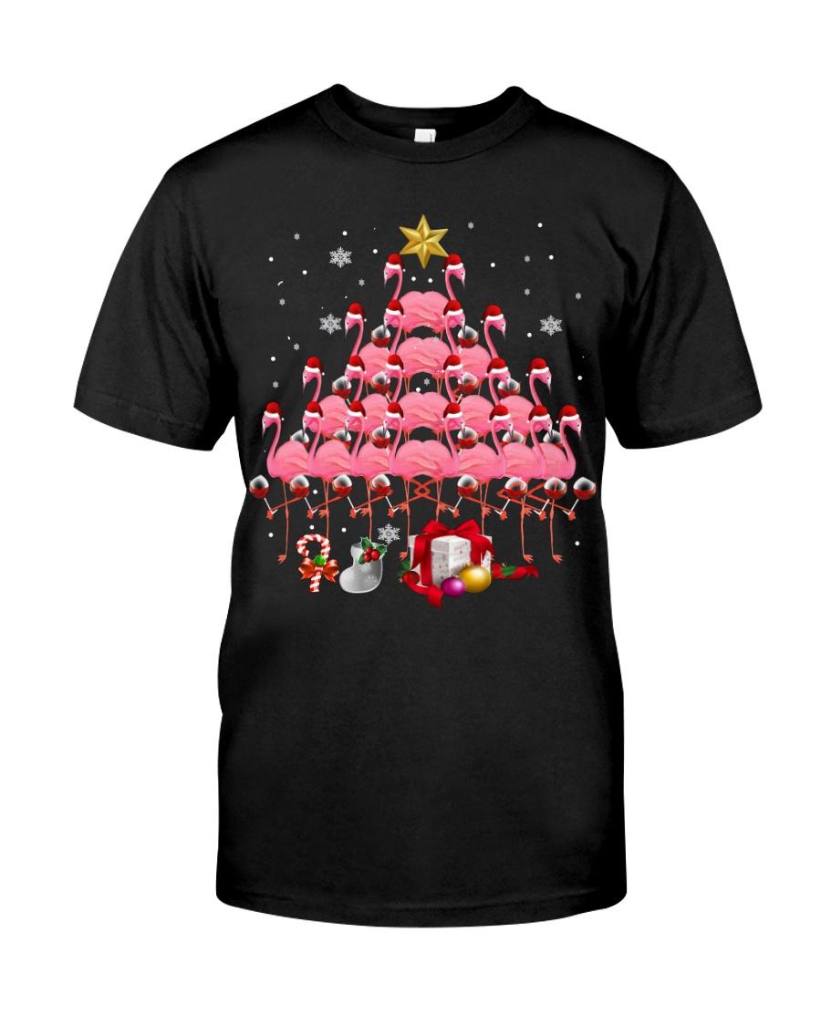 Santa Flamingo Christmas Tree Ping Classic T-Shirt