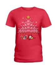 Santa Flamingo Christmas Tree Ping Ladies T-Shirt thumbnail