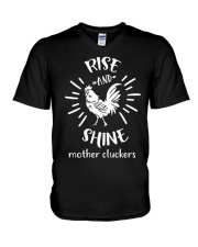 Rise And Shine Mother Cluckers -Rooster Chicken V-Neck T-Shirt thumbnail