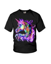 Colorful Rainbow Cute Unicorn Festival Rave Youth T-Shirt front