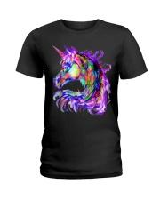 Colorful Rainbow Cute Unicorn Festival Rave Ladies T-Shirt thumbnail