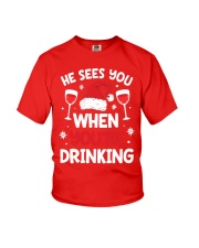 He Sees You When Your Drinking Christmas Youth T-Shirt thumbnail
