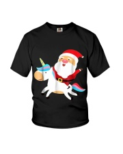 Santa Claus Unicorn Christmas Youth T-Shirt front