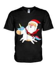 Santa Claus Unicorn Christmas V-Neck T-Shirt thumbnail