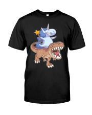 Unicorn riding T-rex dinosaur Classic T-Shirt thumbnail