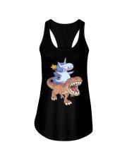 Unicorn riding T-rex dinosaur Ladies Flowy Tank thumbnail