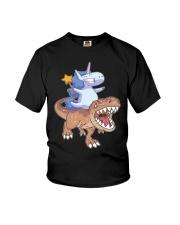 Unicorn riding T-rex dinosaur Youth T-Shirt front