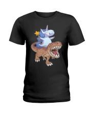 Unicorn riding T-rex dinosaur Ladies T-Shirt thumbnail