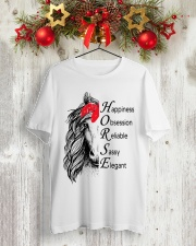 HAPPINESS OBSESSION RELIABLE SASSY ELEGANT Classic T-Shirt lifestyle-holiday-crewneck-front-2