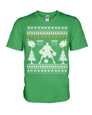 Basketball ugly christmas sweater V-Neck T-Shirt tile