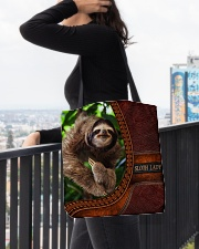 Sloth lady All-Over Tote All-over Tote aos-all-over-tote-lifestyle-front-05
