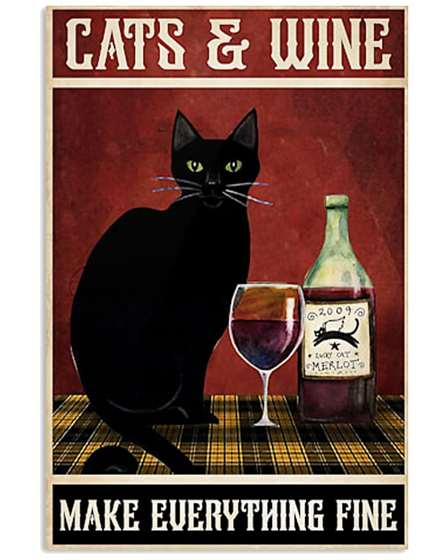 Cats Wine 11x17 Poster