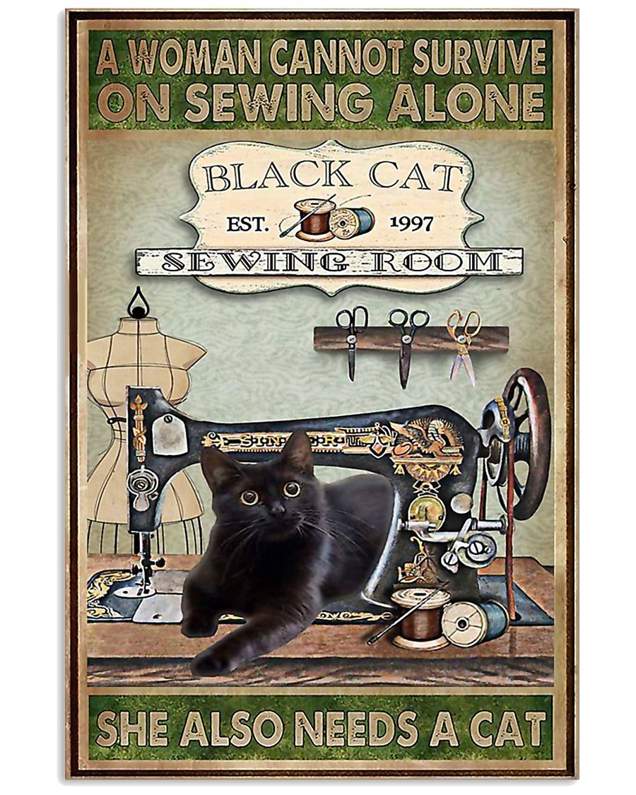 Black Cat sewing 11x17 Poster