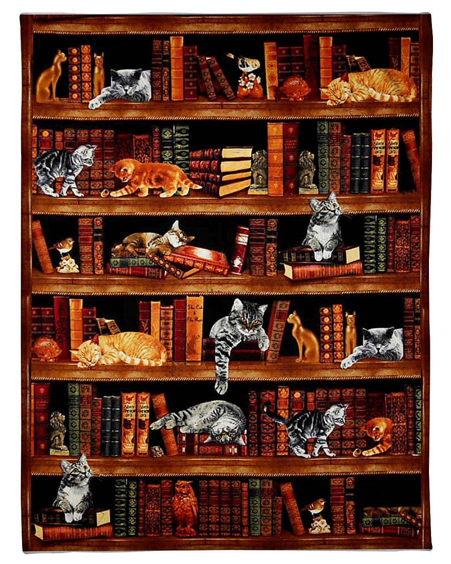 "Cats Books Blanket Small Fleece Blanket - 30"" x 40"""