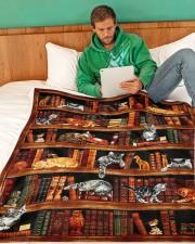 "Cats Books Blanket Large Fleece Blanket - 60"" x 80"" aos-coral-fleece-blanket-60x80-lifestyle-front-06"