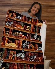 """Cats Books Blanket Sherpa Fleece Blanket - 50"""" x 60"""" aos-sherpa-fleece-blanket-50x60-lifestyle-front-09b"""