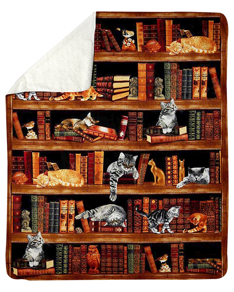 """Cats Books Blanket Sherpa Fleece Blanket - 50"""" x 60"""""""