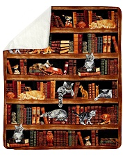 "Cats Books Blanket Sherpa Fleece Blanket - 50"" x 60"" thumbnail"