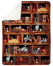 "Cats Books Blanket Large Sherpa Fleece Blanket - 60"" x 80"" front"