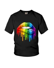 Lgbt Gay Homosexual Lesbian Rainbow Lips T-Shirt Youth T-Shirt tile
