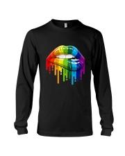 Lgbt Gay Homosexual Lesbian Rainbow Lips T-Shirt Long Sleeve Tee thumbnail