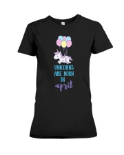 Unicorns Are Born In April - Short Sleeve Birthday Premium Fit Ladies Tee thumbnail