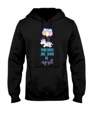 Unicorns Are Born In April - Short Sleeve Birthday Hooded Sweatshirt tile