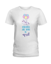 Unicorns Are Born In April - Short Sleeve Birthday Ladies T-Shirt front