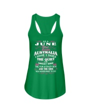 AS A JUNE GIRL BORN IN AUSTRALIA Ladies Flowy Tank front