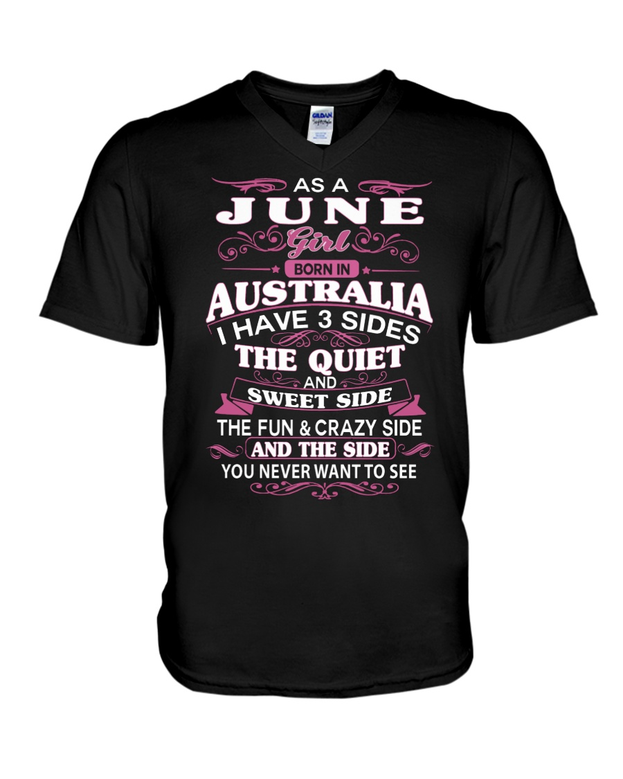 AS A JUNE GIRL BORN IN AUSTRALIA V-Neck T-Shirt