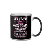 AS A JUNE GIRL BORN IN AUSTRALIA Color Changing Mug tile