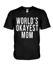 WORLD'S OKAYEST MOM V-Neck T-Shirt thumbnail