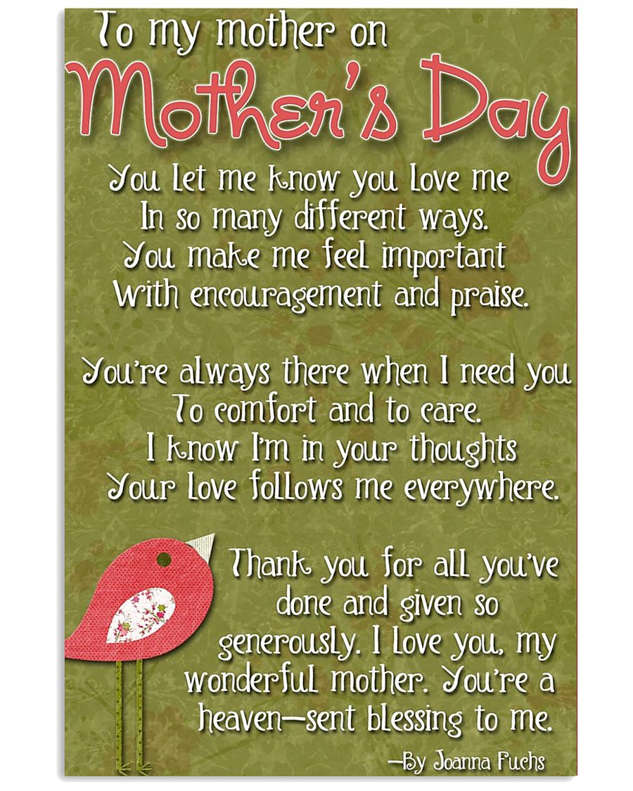 TO MY MOTHER ON MOTHER'S DAY 16x24 Poster