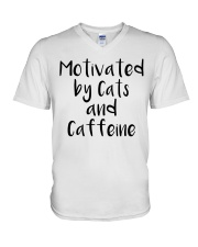 MOTIVATED BY CATS AND CATTEINE V-Neck T-Shirt thumbnail