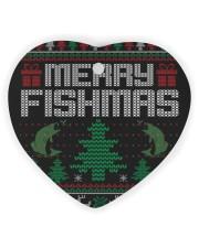 MERRY FISHMAS Heart ornament - single (wood) front