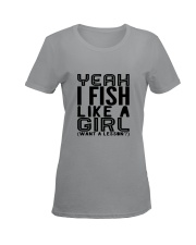 FISHING LIKE  A GIRL LESSON Ladies T-Shirt women-premium-crewneck-shirt-front