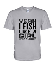 FISHING LIKE  A GIRL LESSON V-Neck T-Shirt thumbnail