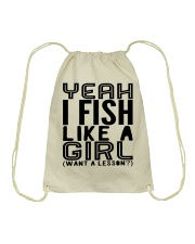 FISHING LIKE  A GIRL LESSON Drawstring Bag thumbnail