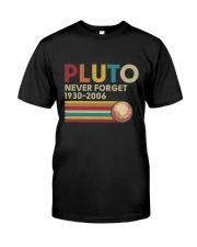 Pluto Never Forget Funny Science Geek T-shirt Premium Fit Mens Tee front
