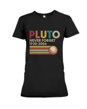 Pluto Never Forget Funny Science Geek T-shirt Premium Fit Ladies Tee thumbnail