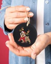 Bulldog Christmas Circle ornament - single (porcelain) aos-circle-ornament-single-porcelain-lifestyles-01
