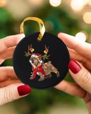 Bulldog Christmas Circle ornament - single (porcelain) aos-circle-ornament-single-porcelain-lifestyles-08