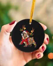 Bulldog Christmas Circle ornament - single (porcelain) aos-circle-ornament-single-porcelain-lifestyles-09