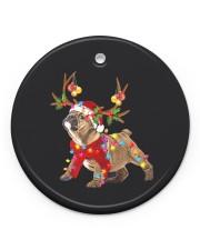 Bulldog Christmas Circle ornament - single (porcelain) front