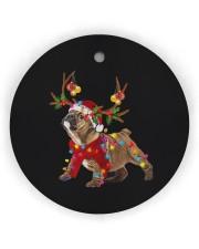Bulldog Christmas Circle Ornament (Wood tile