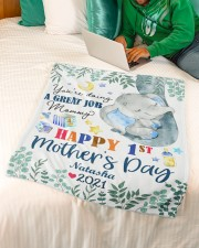 """Happy 1st Mother's Day Small Fleece Blanket - 30"""" x 40"""" aos-coral-fleece-blanket-30x40-lifestyle-front-07a"""
